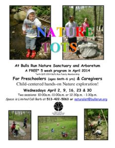 Nature Tots Flyer - Spring 2014