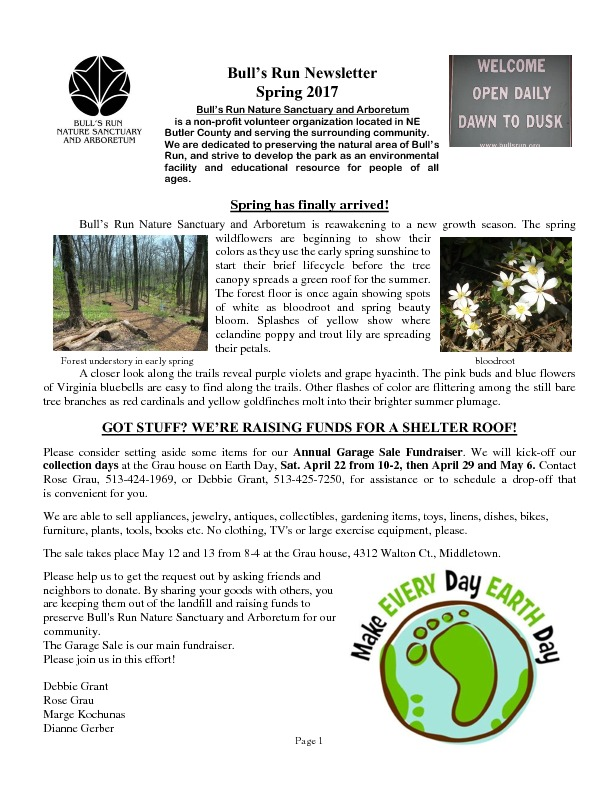 Spring NEWSLETTER 2017 | Bull's Run Nature Sanctuary and